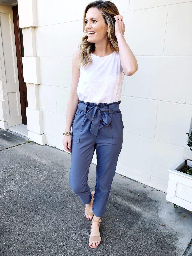 Style paper bag pants, street fashion, paper bag, t shirt