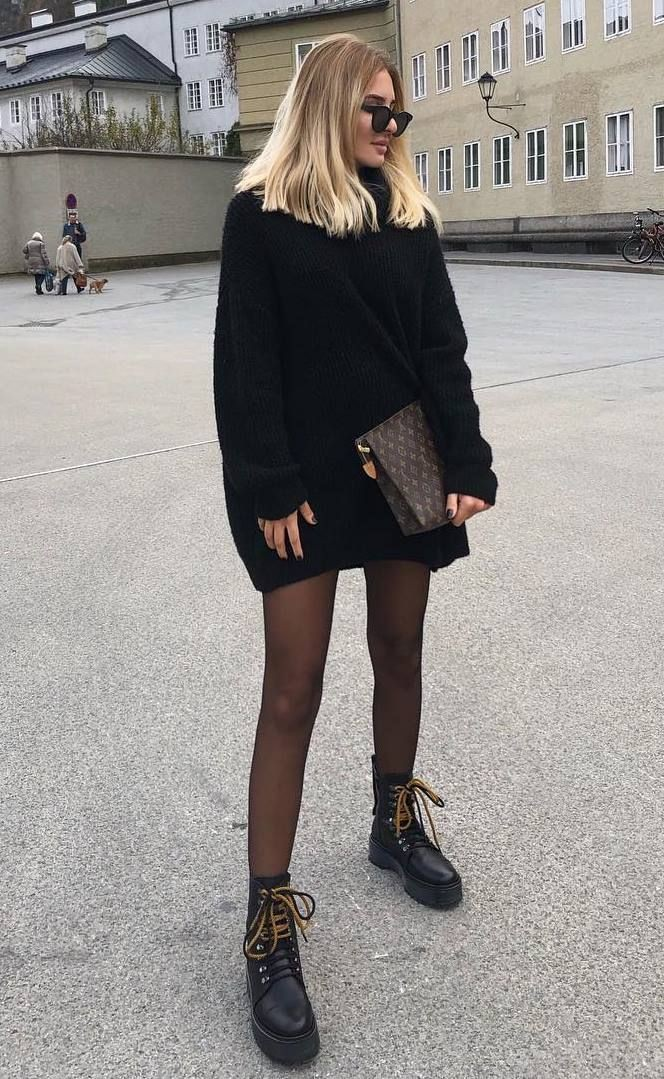 Oversized black sweater outfit little black dress, street fashion
