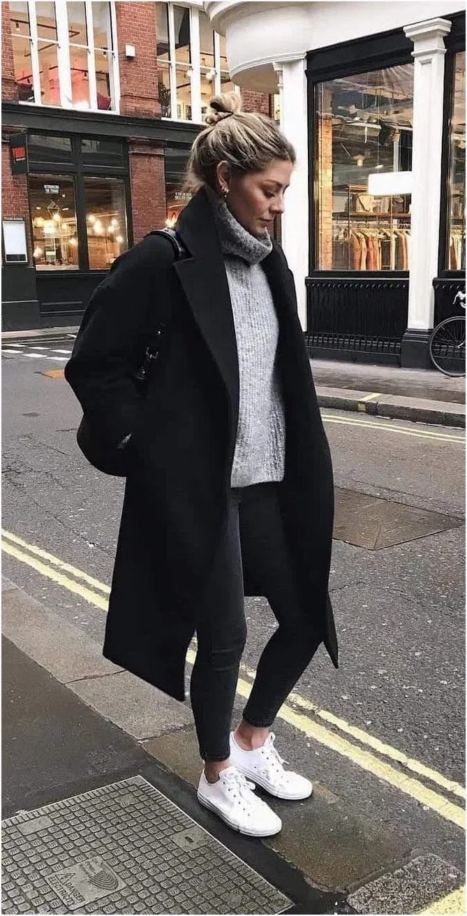 Colour combination winter everyday outfits, winter clothing, street fashion, casual wear, polo neck