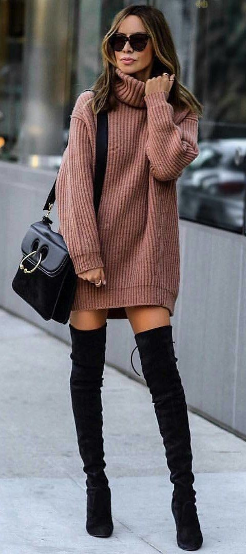 Sweater dress with knee high boots