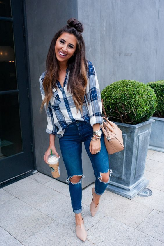 Outfits with a flannel, street fashion, electric blue, fashion blog, casual wear, t shirt
