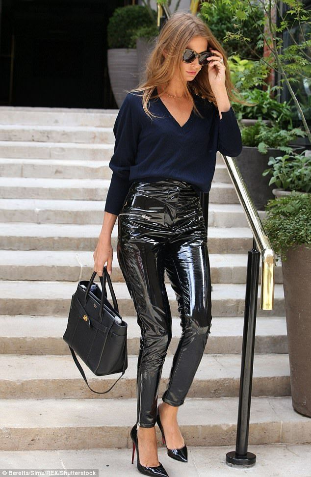 Colour outfit vinyl trousers outfit slim fit pants, patent leather