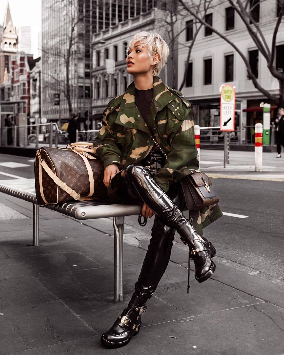 Outfit ideas leather pants bus, military camouflage, military uniform, leather jacket, patent le ...