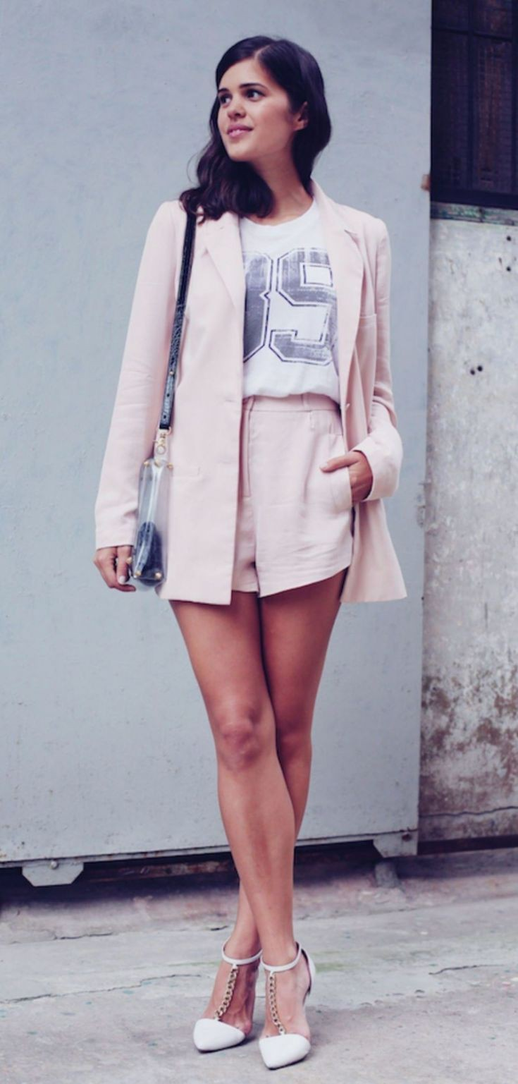 White and pink colour ideas with pantsuit, trousers, blazer