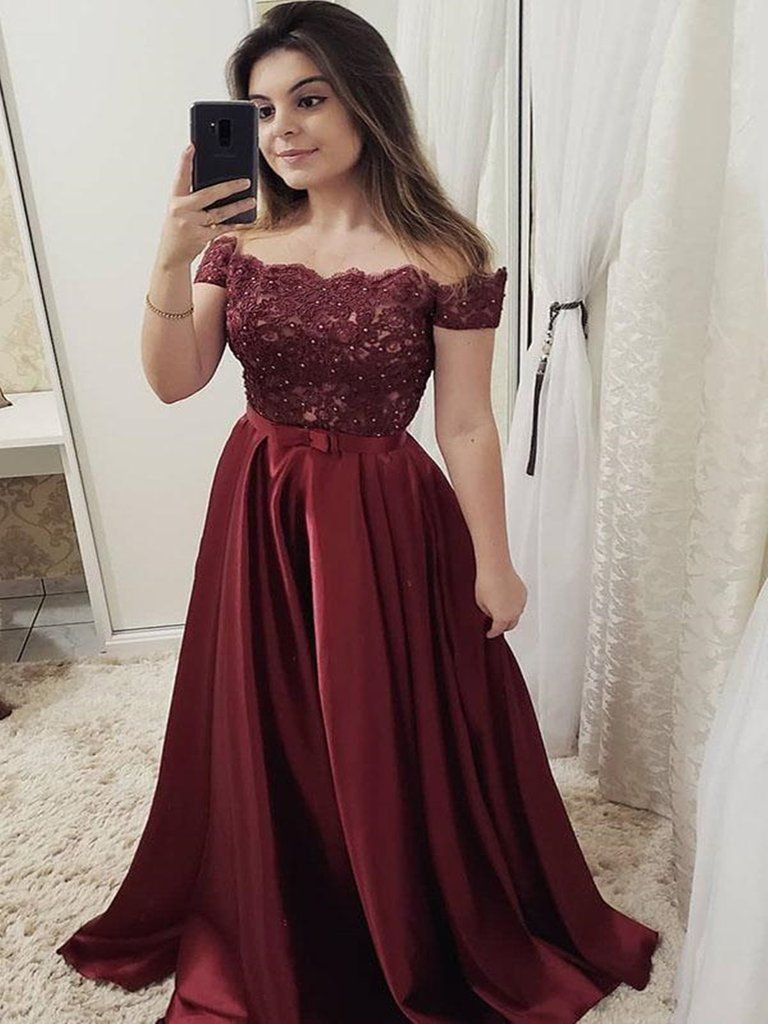 Off the shoulder maroon prom dress