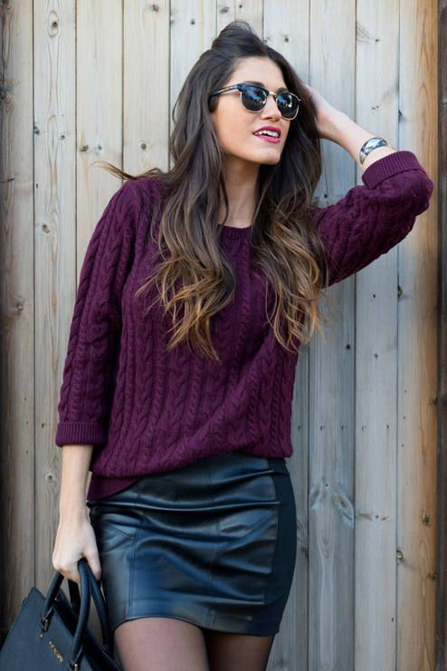Outfit with purple sweater, street fashion, leather skirt, t shirt
