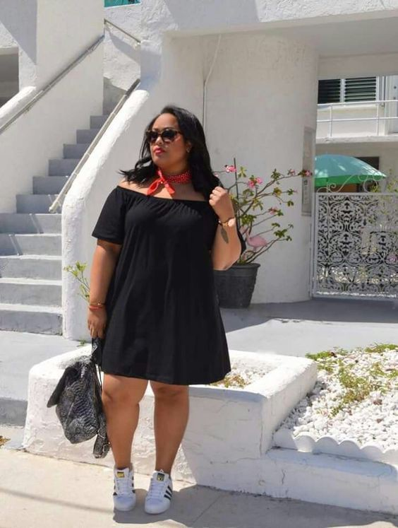 Plus size women fashion with shoes