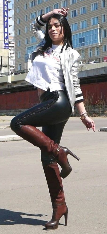 Outfit with leggings, leather, tights
