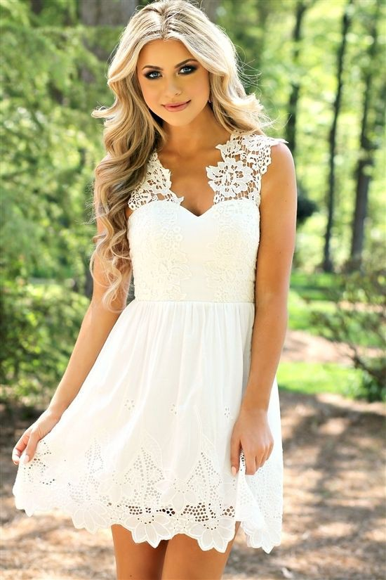 White bridal shower country dress