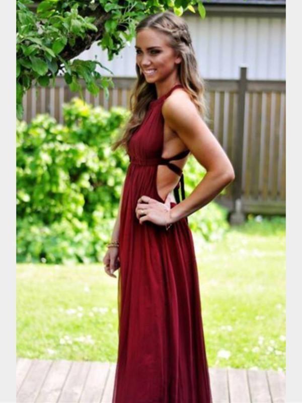 Maroon ball dress backless, bridesmaid dress, strapless dress, backless dress, cocktail dress, e ...