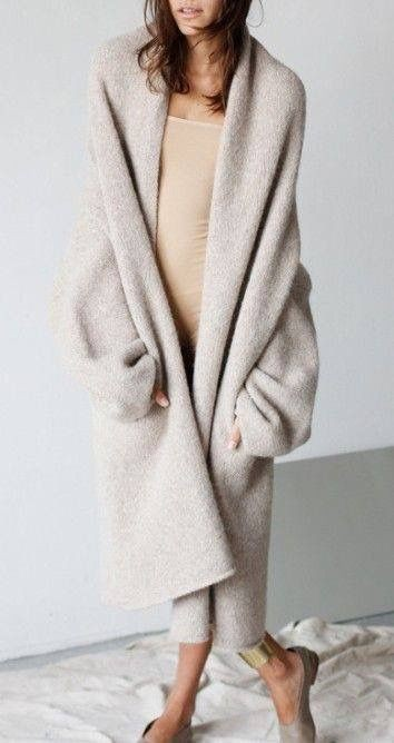 Beige instagram fashion with trousers, overcoat, sweater