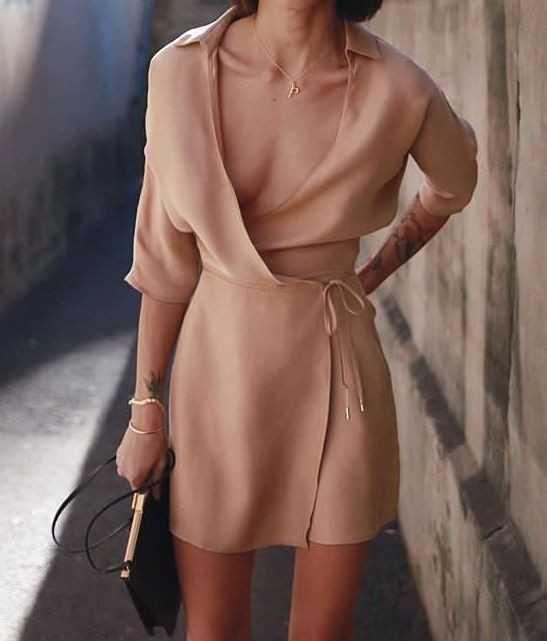 Beige and brown classy outfit with cocktail dress, wrap dress, dress shirt, coat