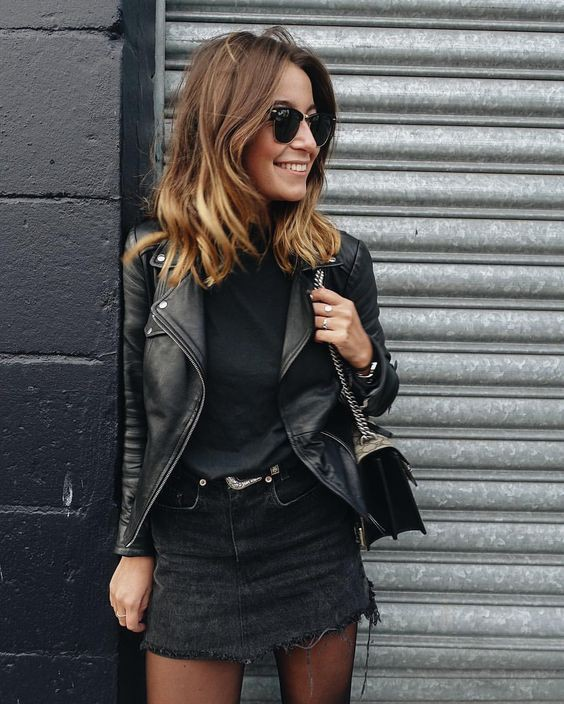 Black denim skirt outfit, street fashion, leather jacket, casual wear, denim skirt
