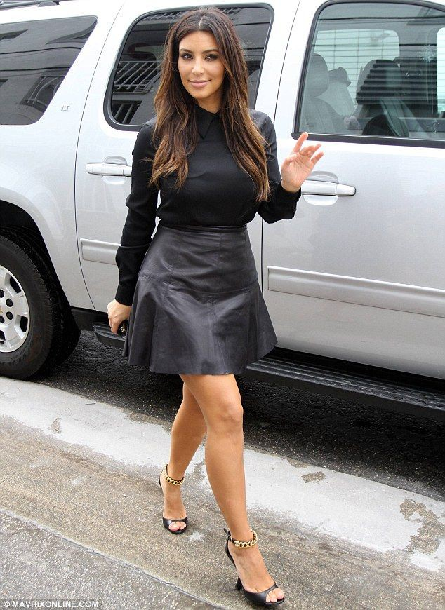 Kim kardashian leather skirt little black dress, leather clothing