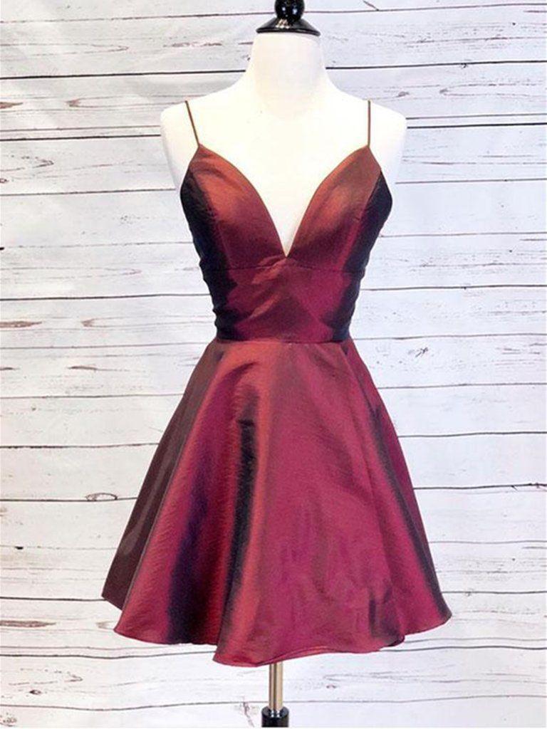 Burgundy v neck short dress