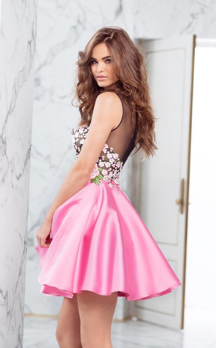 Pink colour outfit with cocktail dress, gown