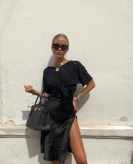 Colour outfit with little black dress, little black dress