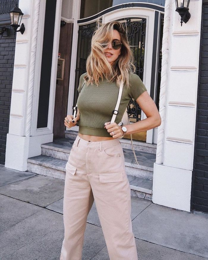 Khaki colour combination with cargo pants, denim, jeans