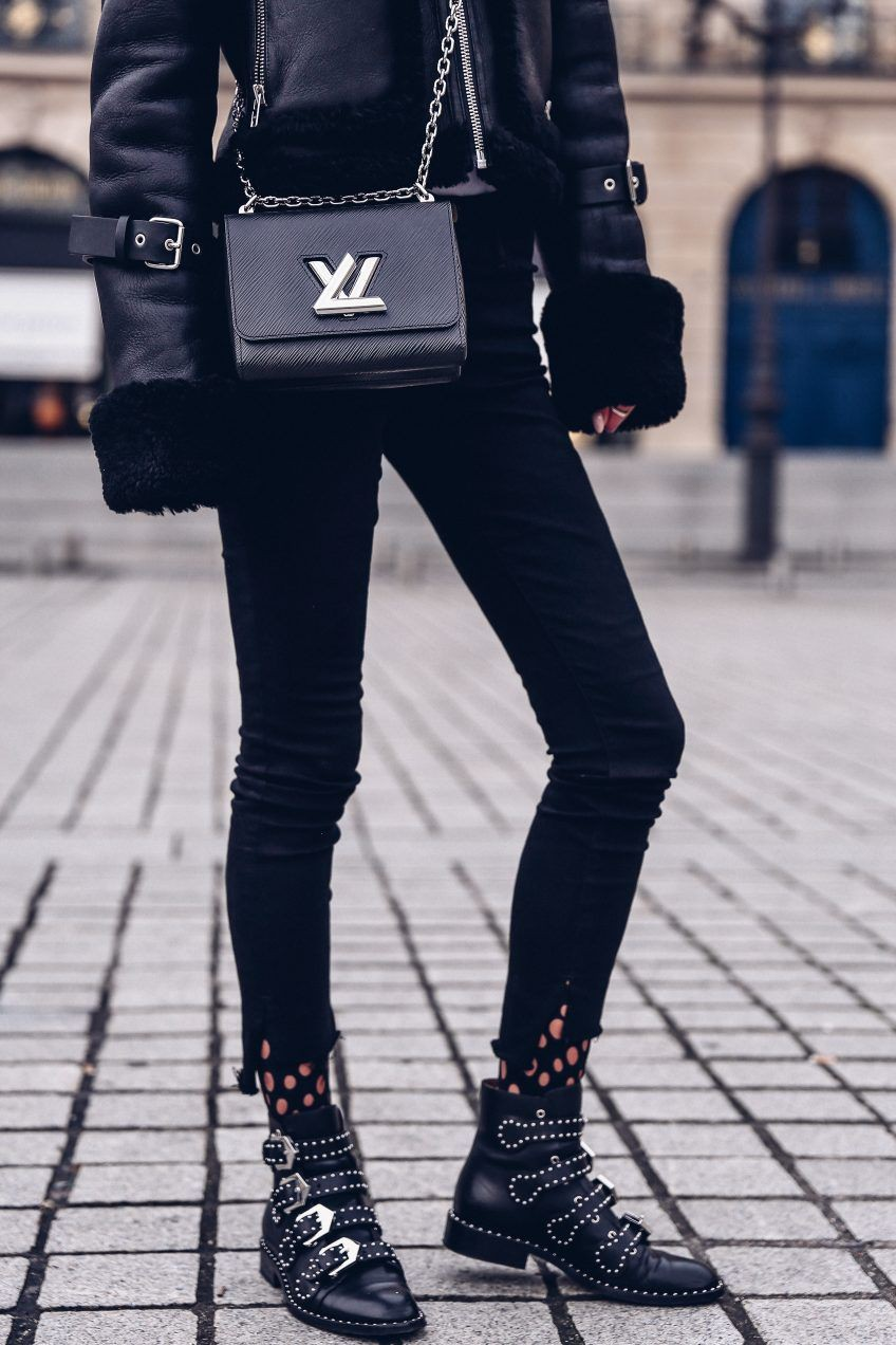 Givenchy studded boots outfit black and white, fashion accessory