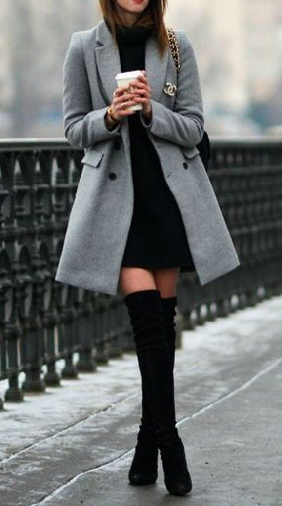 Classy thigh high boots outfit
