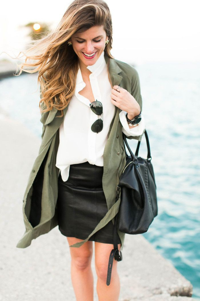Black leather mini skirt fashion