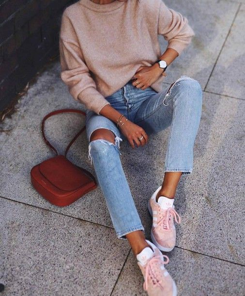 Pink adidas trainers outfit, adidas originals, street fashion