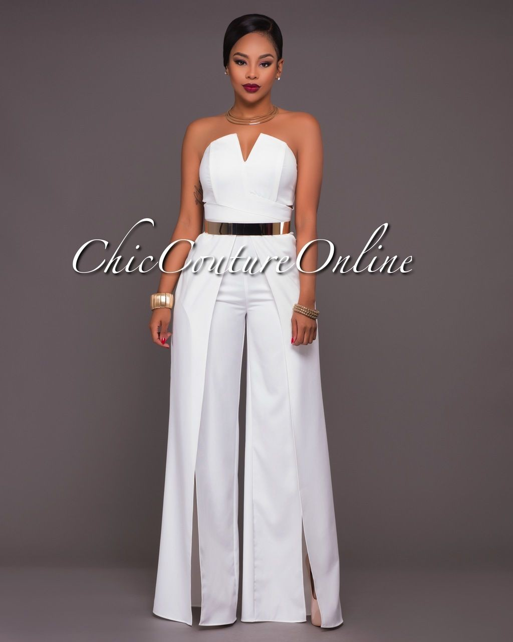 Lookbook fashion with bridal party dress, strapless dress, cocktail dress, romper suit, trousers