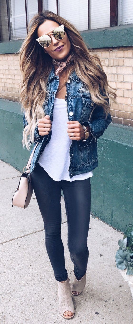 Spring jean jacket outfits, street fashion, jean jacket