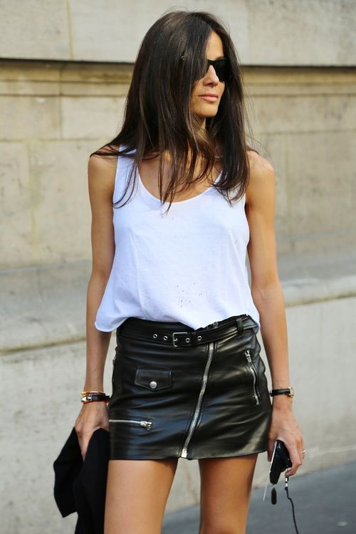Leather skirt and tank top