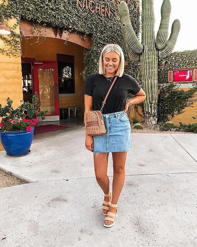 Arizona jean skirt outfit, street fashion, informal wear, casual wear, denim skirt