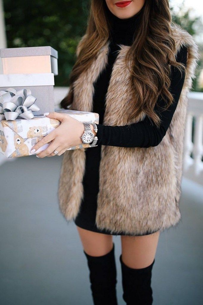 Beige and brown colour outfit with fur clothing, sweater, jacket