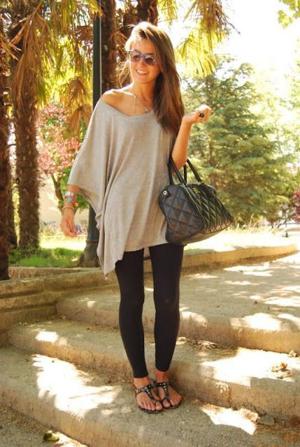 Oversized shirt and leggings, street fashion, t shirt