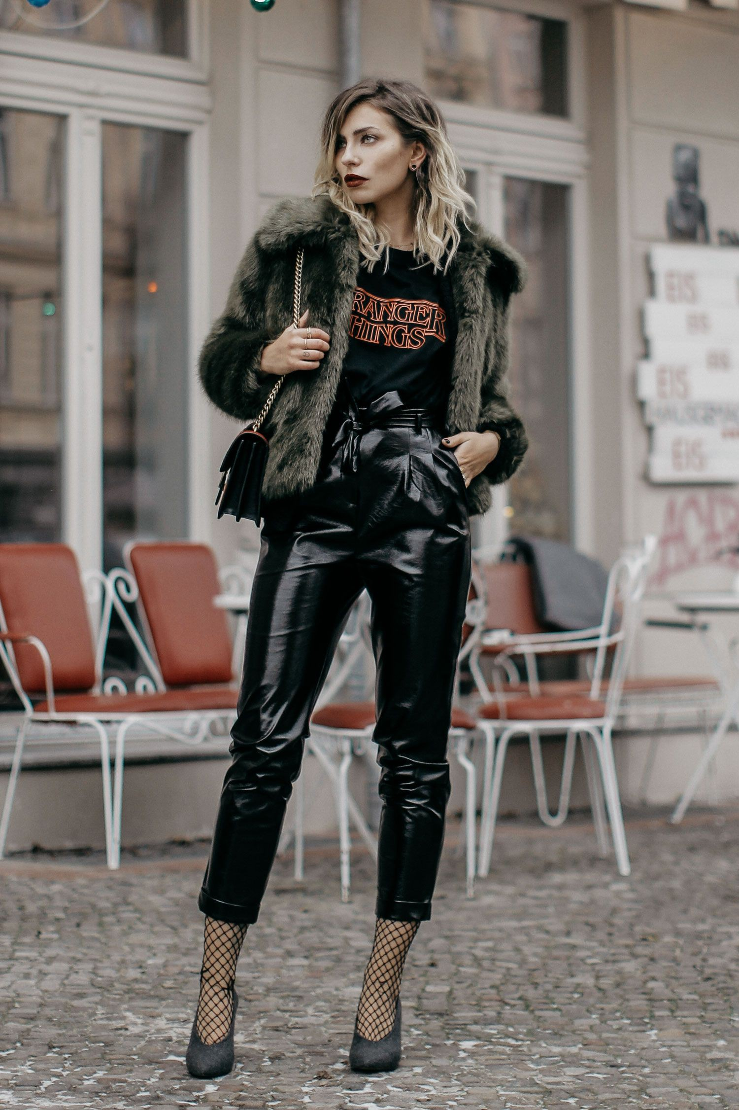 Patent leather pants looks, patent leather, leather jacket, street fashion, fashion model, fashi ...