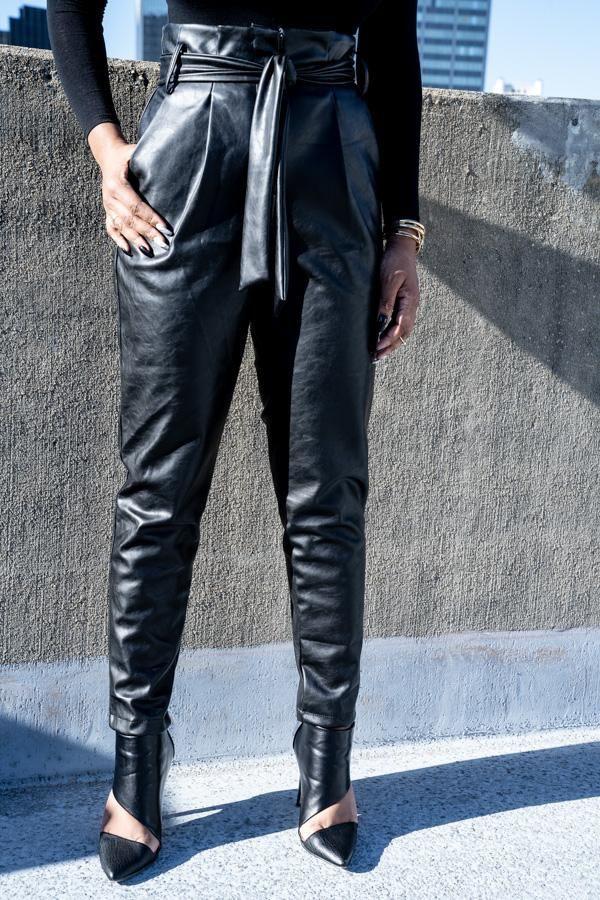 Leather paper bag pants, street fashion, paper bag, t shirt