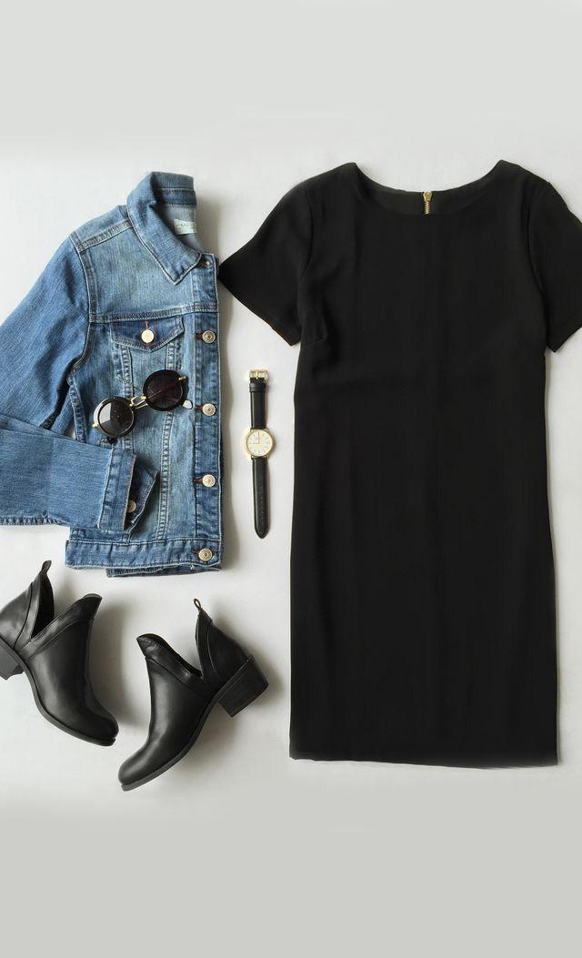 Black shift dress outfit ideas