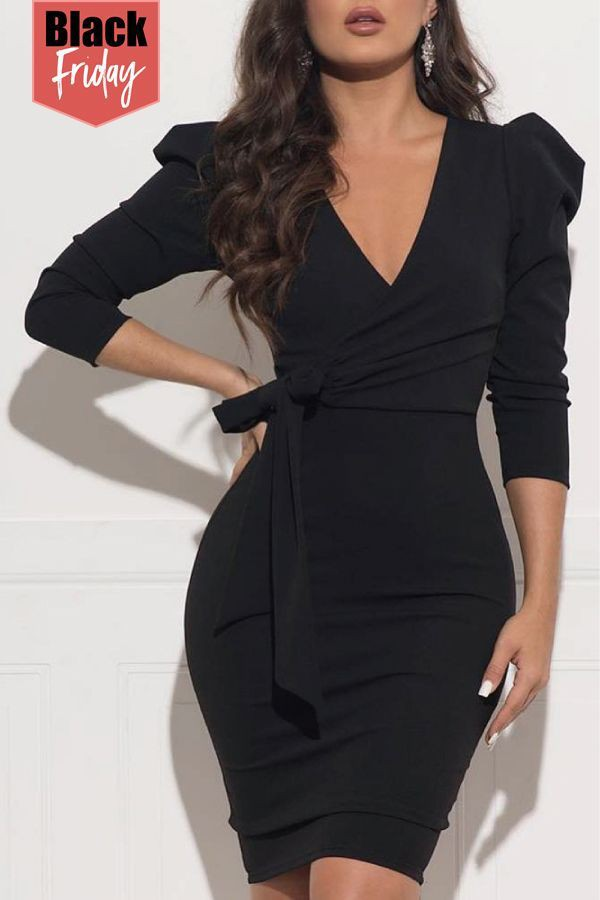 Black outfit with little black dress, backless dress, cocktail dress