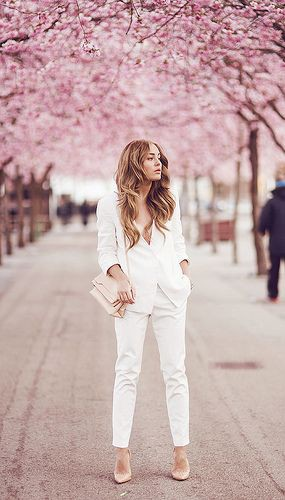 White and pink colour outfit with trousers, blazer, jeans