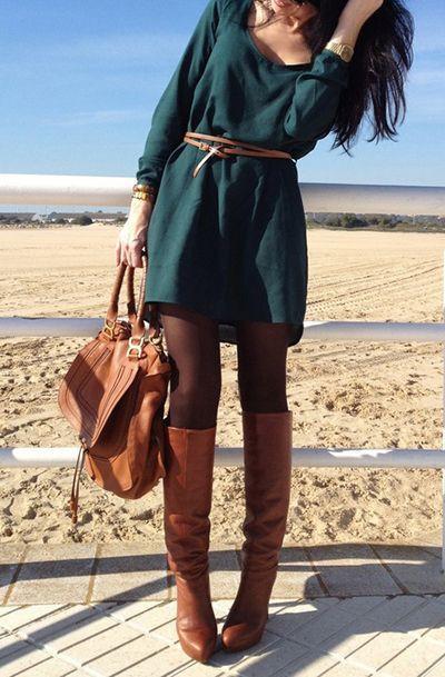 Green dress black tights brown boots