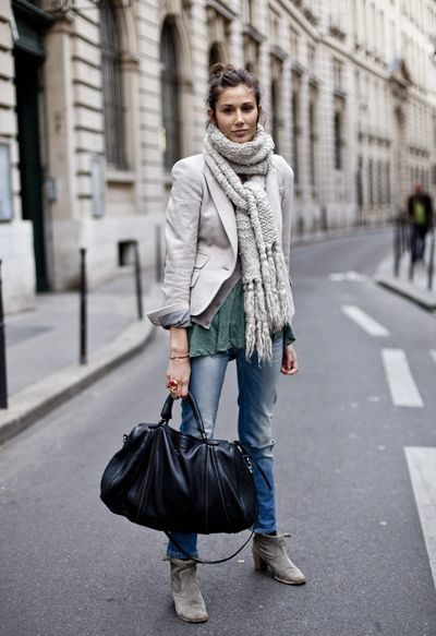 Paris street style scarves, street fashion, casual wear, crop top