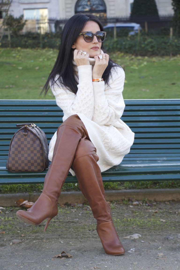 Brown and white outfit Stylevore with fashion accessory