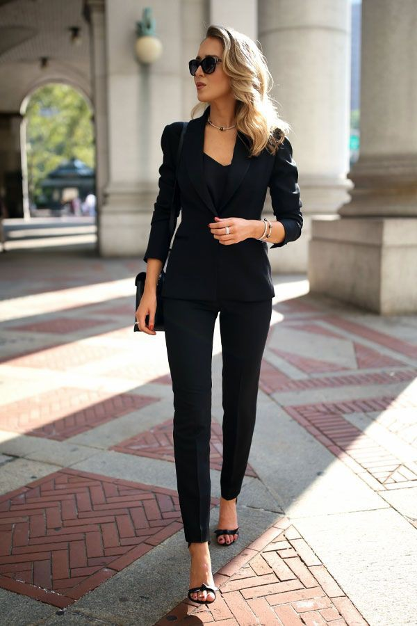 White and black classy outfit with formal wear, trousers, pantsuit