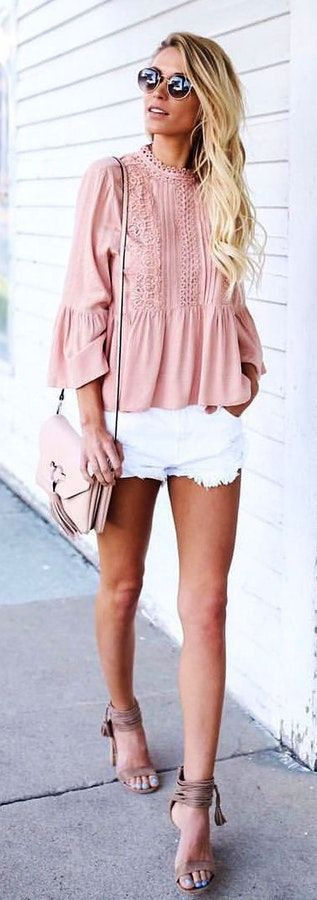 White and pink colour outfit, you must try with blouse, shorts sunglasses