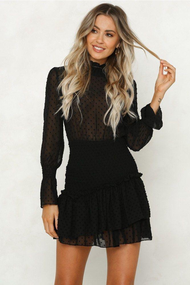 Long sleeve chiffon mini dress