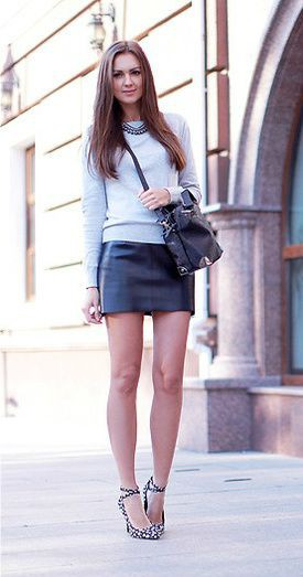 Outfit style leather skirt lookbook high heeled shoe, street fashion
