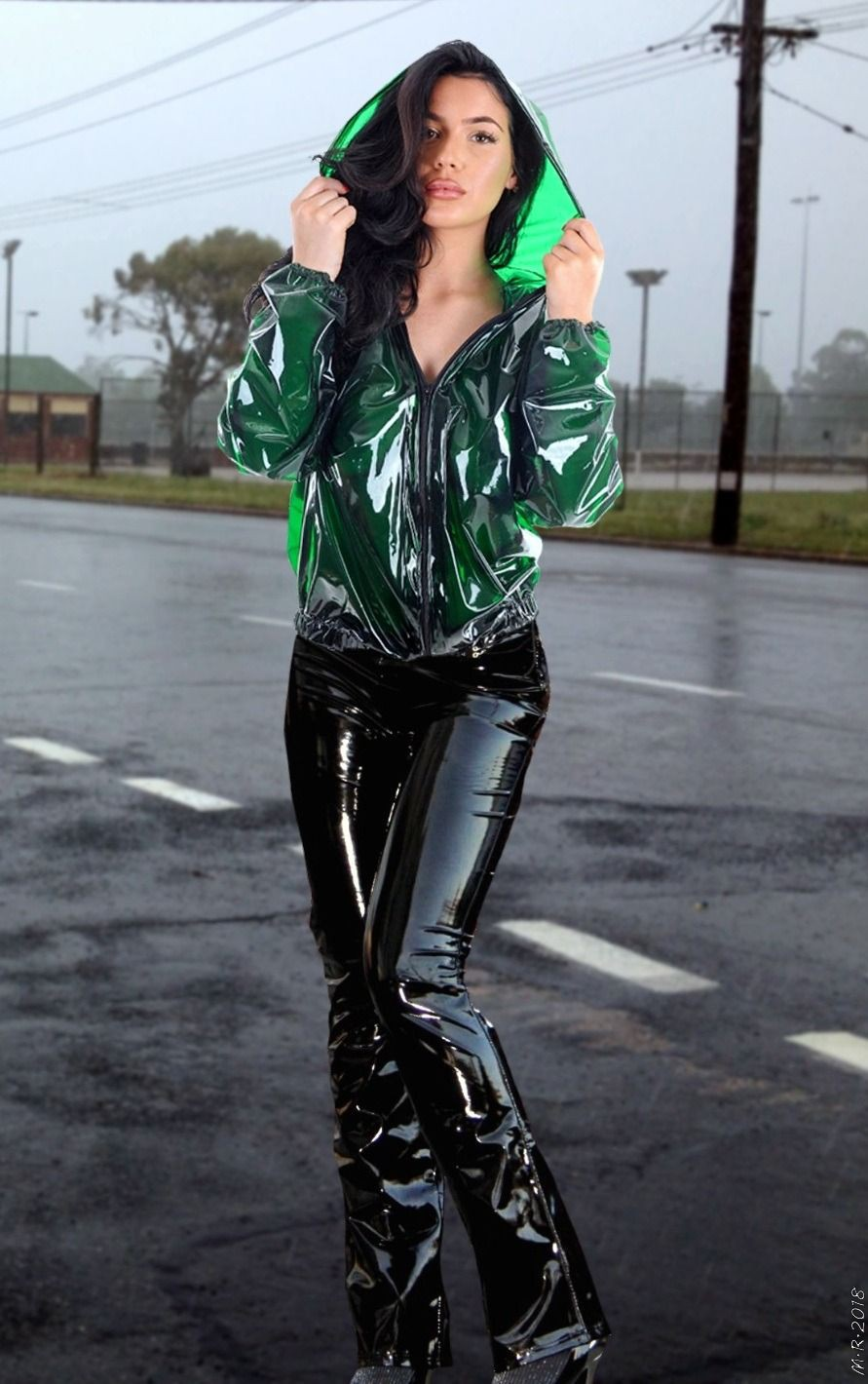 Green colour outfit with latex clothing, trousers, leather