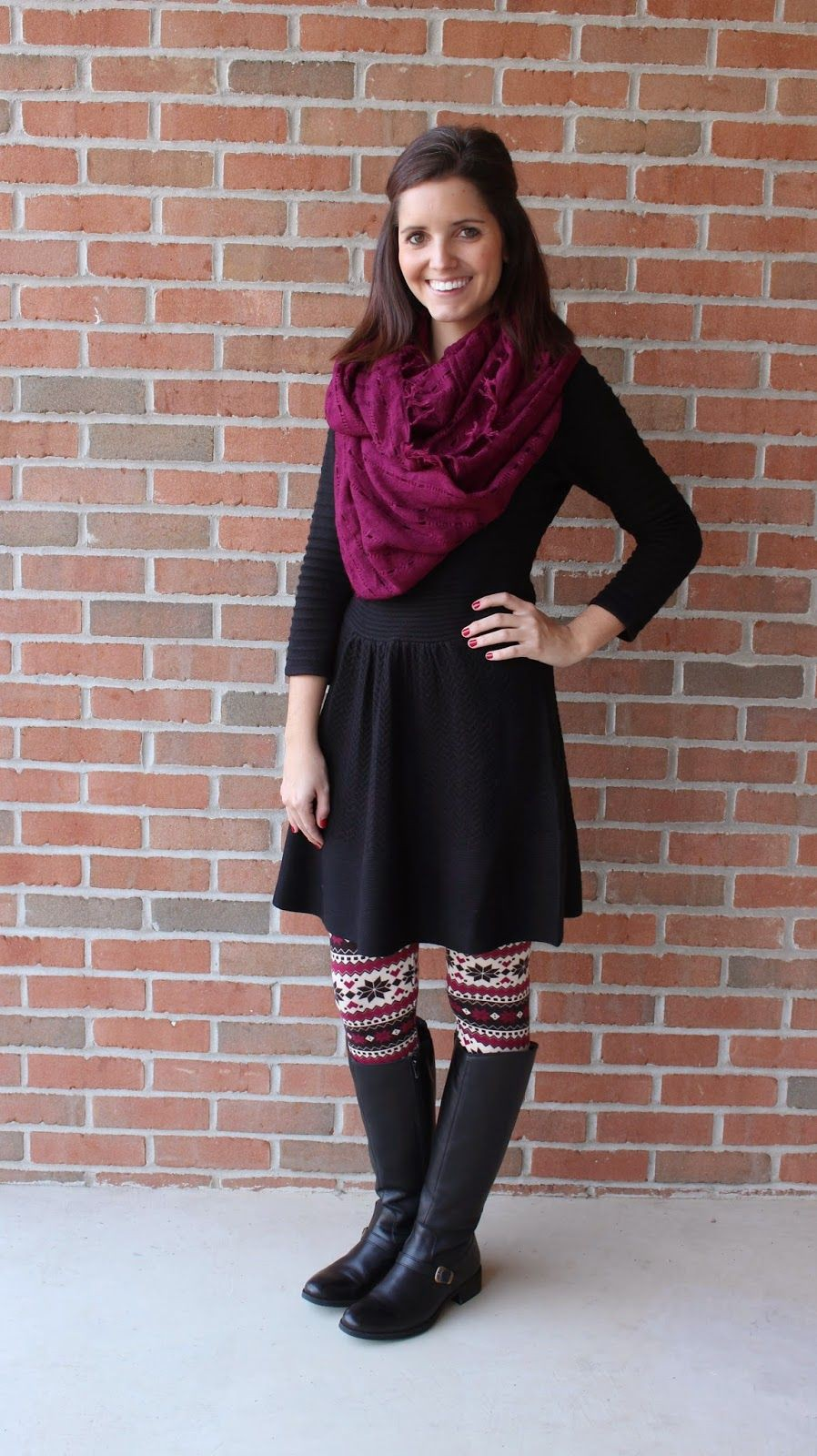 Clothing frocks with leggings, winter clothing, riding boot