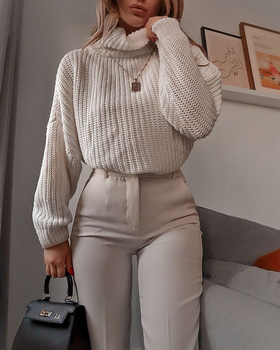 White colour outfit with sweater, jeans, skirt