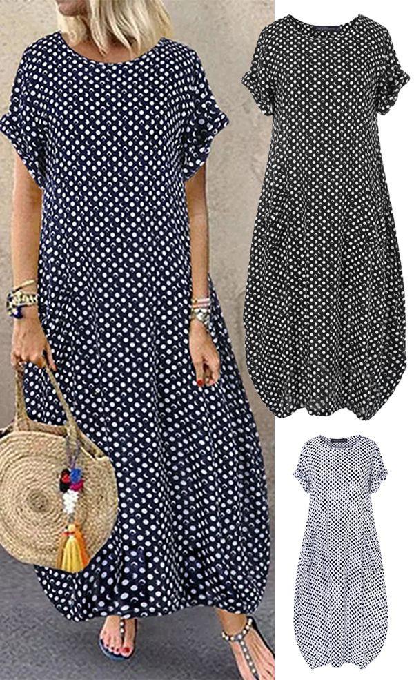 Vestidos de verano largos, casual wear, polka dot, day dress, t shirt