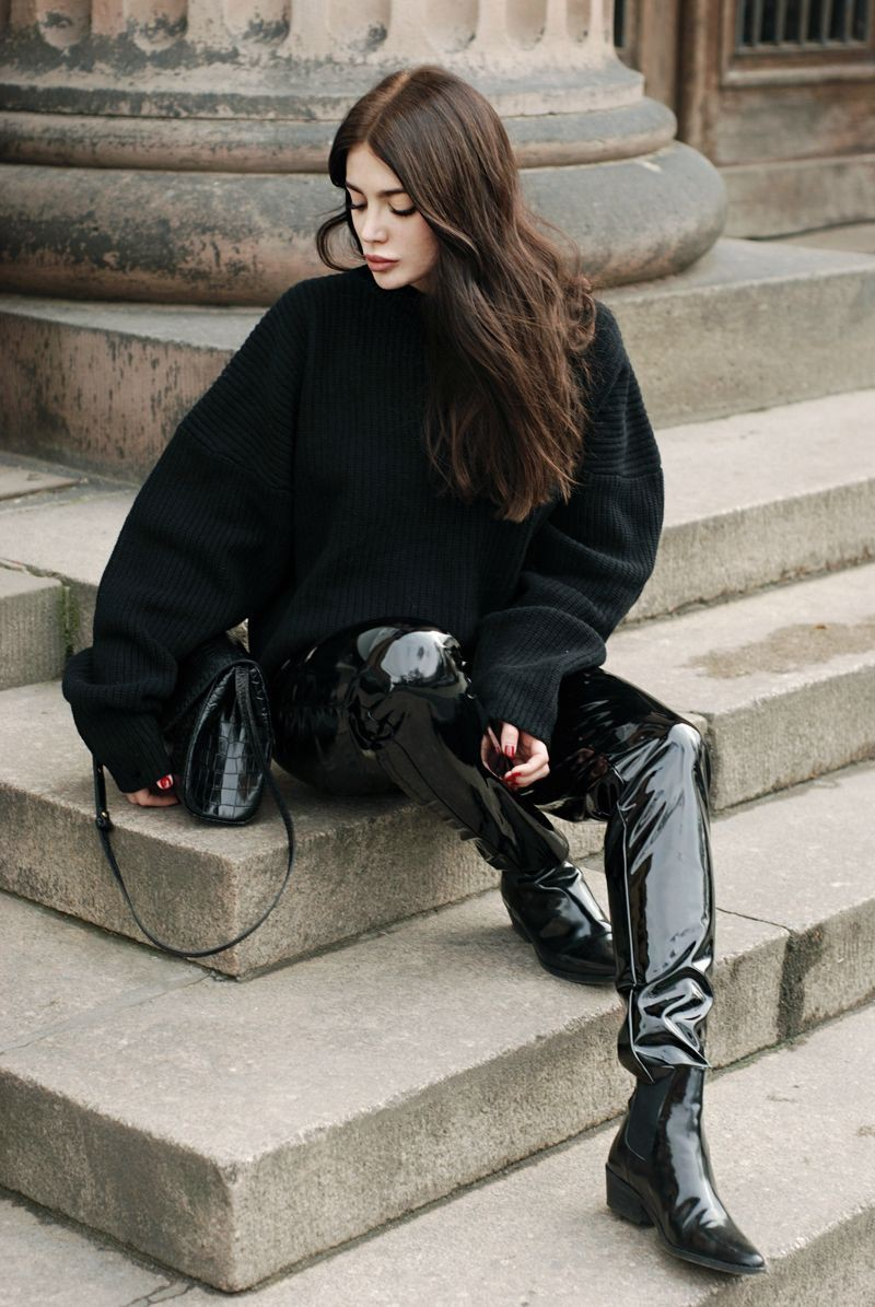 Patent leather pants outfit, patent leather, street fashion