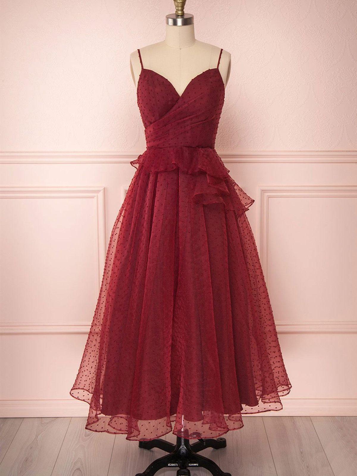 Tea length prom dress spaghetti strap